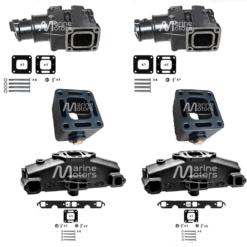 Kit complet Collecteurs 87114 + Coudes 44354 + Rehausses 43320 Mercruiser GM 305 5.0L, 350 V8 5.7L 1983-2003  (Joint humide / wet)