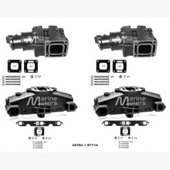 Kit Complet Collecteurs 87114 + Coudes 44354  Mercruiser GM 305 5.0L, 350 V8 5.7L 1983-2003  (Joint humide / wet)