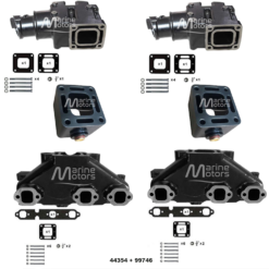 Kit Complet Collecteur 99746 + Coude 44354 + Rehausse 43320  Mercruiser GM 262 4.3L V6 1983-2002 (Joint humide / wet)