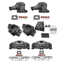 Kit Complet Collecteurs 5735 + Coudes 4591 + Rehausses 64929Mercruiser 5.0l, 5.7l, 6.2l V8 2002 et + - (Joint sec / dry)