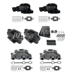 Kit Complet Collecteurs 84612+ Coudes 84309 + Rehausses 64929 Mercruiser - 4.3l V6 - 2002 et + - (Joint sec / dry)
