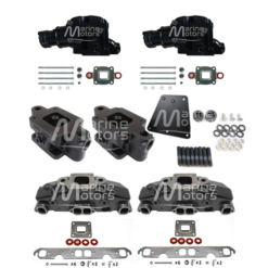 Kit Complet Collecteurs 5735 + Coudes 84309 + Rehausses 64929Mercruiser 5.0l, 5.7l, 6.2l V8 2002 et + - (Joint sec / dry)