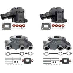 Kit Complet Collecteurs 84612 + Coudes 4591 Mercruiser 4.3L V6 262- 2003 et + (Joint sec / dry)