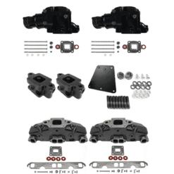 Kit Complet Collecteurs 5735 + Coudes 84309 + Rehausses 64929 Mercruiser - 5.0L, 5.7L, 6.2L V8 - 2002 et + - (Joint sec / dry)