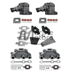 Kit Complet Collecteurs 84612 + Coudes 4591 + Rehausse 65995 Mercruiser 4.3L V6 262- 2003 et + (Joint sec / dry)