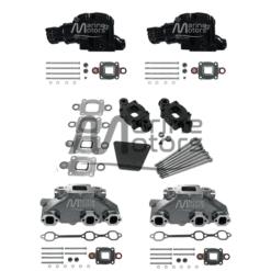 Kit Complet Collecteurs 84612+ Coudes 84309 + Rehausses 65995 Mercruiser - 4.3l V6 - 2002 et + - (Joint sec / dry)