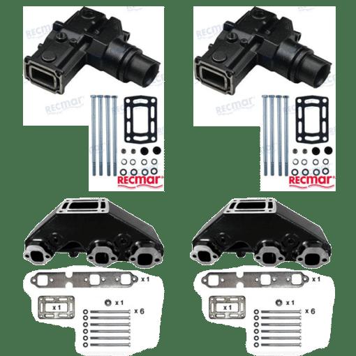 Kit Complet Collecteurs 87656 + Coudes MAR627 Volvo Penta / OMC GM 262 CID -V6 – 4.3L – 1991 et ultérieur (Joint humide / wet)