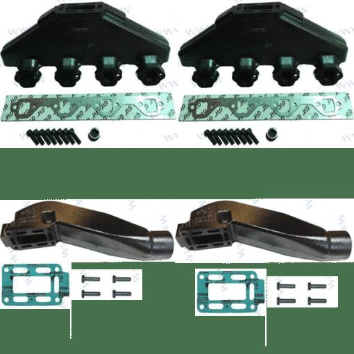 Kit Complet Collecteurs HOT20996 + Coudes HOT20899- Indmar - FORD V8 5.0L et 5.8L (Joint humide / wet)