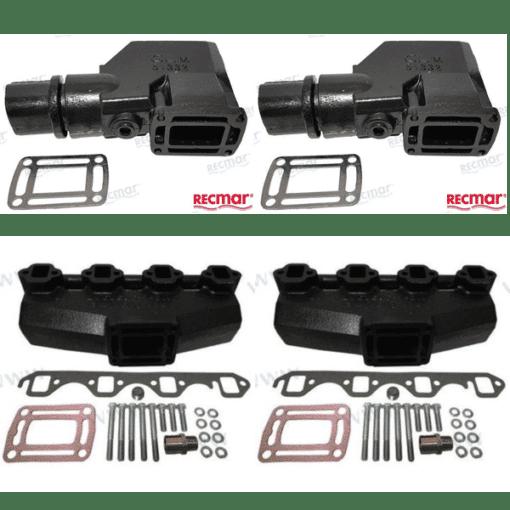Kit Complet Collecteurs BAOMC1-3852347 + Coudes bâbord REC3855271 + Coudes tribord REC3855269 - Indmar - GM V8 5.0L et 5.7L (Joint humide / wet)