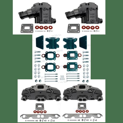 Kit Complet Collecteurs 5735 + Coudes 4591 + Rehausses BAMC-20-864908A1Mercruiser 5.0L, 5.7L, 6.2L V8 2002 et + - (Joint sec / dry)